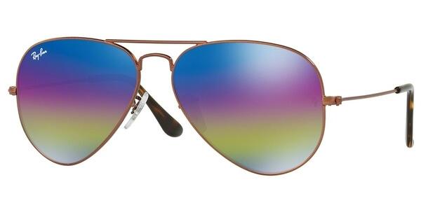 Sluneční brýle Ray-Ban® model 3025, barva obruby bronzová mat, čočka modrá fialová zrcadlo gradál, kód barevné varianty 9019C2.