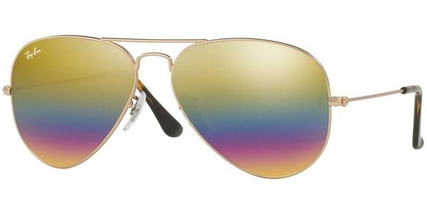Sluneční brýle Ray-Ban® model 3025, barva obruby bronzová mat, čočka zlatá fialová zrcadlo, kód barevné varianty 9020C4.