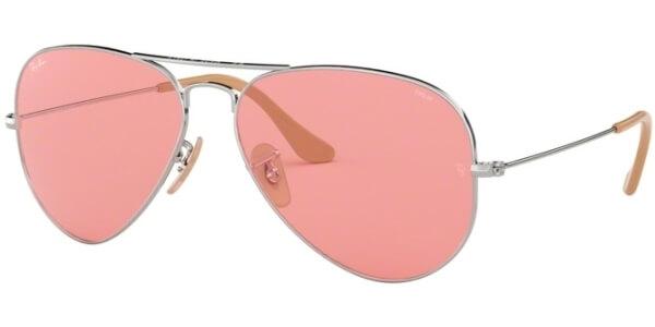 Sluneční brýle Ray-Ban® model 3025, barva obruby stříbrná lesk, čočka růžová, kód barevné varianty 9065V7.