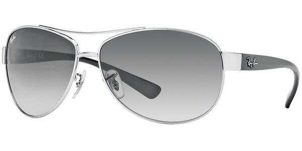 Sluneční brýle Ray-Ban® model 3386, barva obruby stříbrná lesk černá, čočka šedá gradál, kód barevné varianty 0038G.