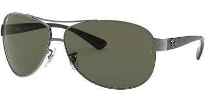 Sluneční brýle Ray-Ban® model 3386, barva obruby šedá lesk černá, čočka zelená polarizovaná, kód barevné varianty 0049A.