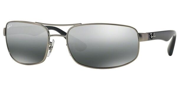 Sluneční brýle Ray-Ban® model 3445, barva obruby stříbrná mat modrá, čočka šedá zrcadlo polarizovaná, kód barevné varianty 005K3.