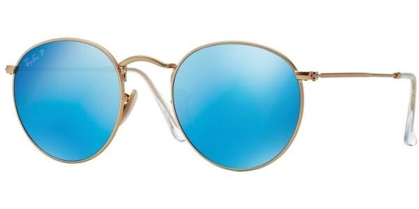 Sluneční brýle Ray-Ban® model 3447, barva obruby zlatá mat modrá, čočka modrá zrcadlo polarizovaná, kód barevné varianty 1124L.
