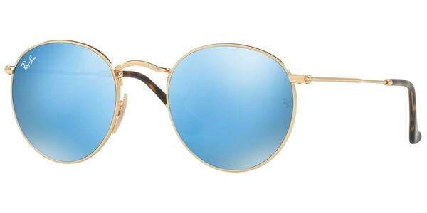Sluneční brýle Ray-Ban® model 3447N, barva obruby zlatá lesk, čočka modrá zrcadlo, kód barevné varianty 0019O.