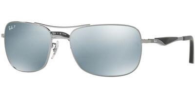 Sluneční brýle Ray-Ban® model 3515, barva obruby šedá lesk, čočka štříbrná zrcadlo polarizovaná, kód barevné varianty 004Y4.