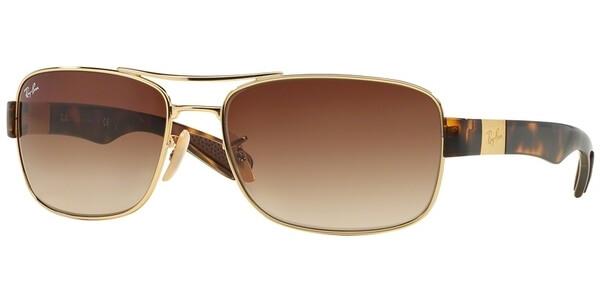 Sluneční brýle Ray-Ban® model 3522, barva obruby zlatá lesk hnědá, čočka hnědá gradál, kód barevné varianty 00113.