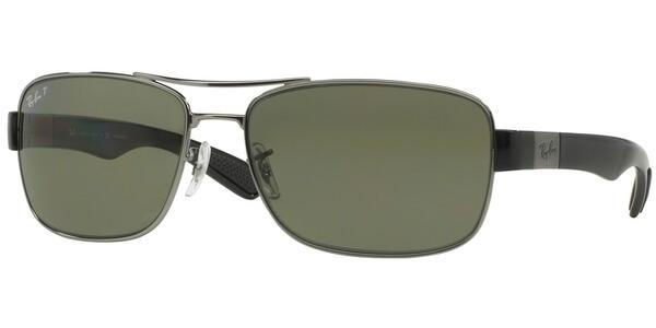 Sluneční brýle Ray-Ban® model 3522, barva obruby stříbrná lesk černá, čočka zelená polarizovaná, kód barevné varianty 0049A.