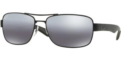 Sluneční brýle Ray-Ban® model 3522, barva obruby černá mat, čočka stříbrná zrcadlo polarizovaná, kód barevné varianty 00682.