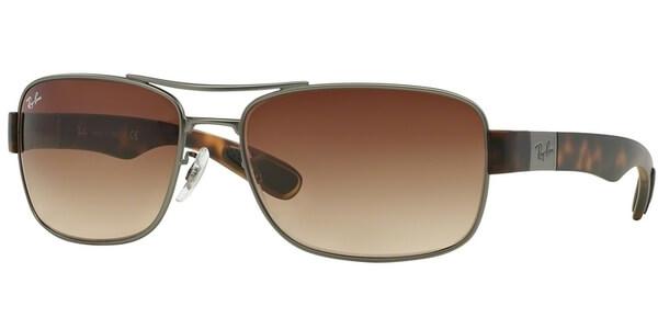 Sluneční brýle Ray-Ban® model 3522, barva obruby stříbrná mat hnědá, čočka hnědá gradál, kód barevné varianty 02913.