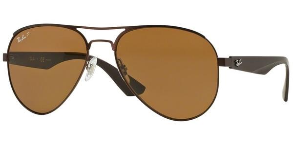 Sluneční brýle Ray-Ban® model 3523, barva obruby hnědá mat, čočka hnědá polarizovaná, kód barevné varianty 01283.