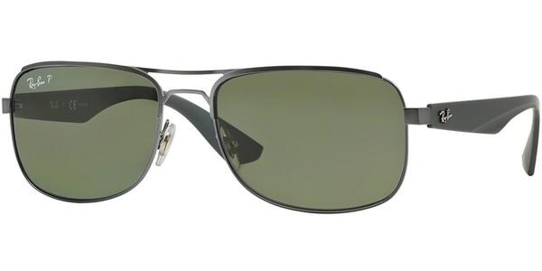 Sluneční brýle Ray-Ban® model 3524, barva obruby stříbrná mat šedá, čočka zelená polarizovaná, kód barevné varianty 0299A.