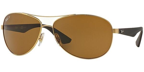 Sluneční brýle Ray-Ban® model 3526, barva obruby zlatá mat hnědá, čočka hnědá polarizovaná, kód barevné varianty 11283.
