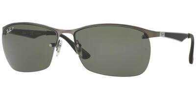 Sluneční brýle Ray-Ban® model 3550, barva obruby stříbrná mat černá, čočka zelená polarizovaná, kód barevné varianty 0299A.