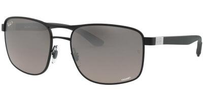 Sluneční brýle Ray-Ban® model 3660CH, barva obruby černá mat, čočka šedá zrcadlo gradál polarizovaná, kód barevné varianty 1865J.