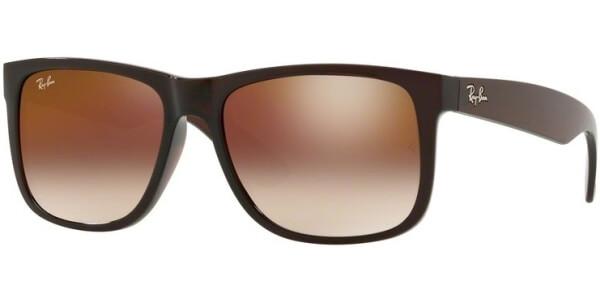 Sluneční brýle Ray-Ban® model 4165, barva obruby hnědá mat, čočka červená zrcadlo gradál, kód barevné varianty 714S0.