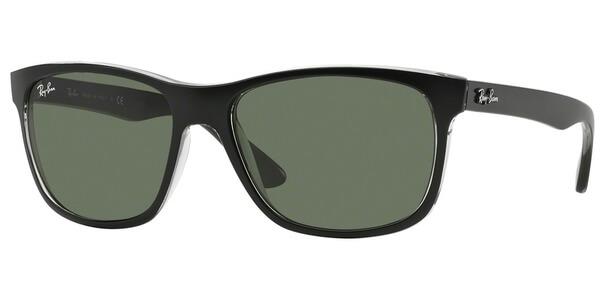 Sluneční brýle Ray-Ban® model 4181, barva obruby černá mat čirá, čočka zelená, kód barevné varianty 6130.