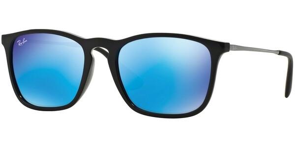 Sluneční brýle Ray-Ban® model 4187, barva obruby černá lesk stříbrná, čočka modrá zrcadlo, kód barevné varianty 60155.