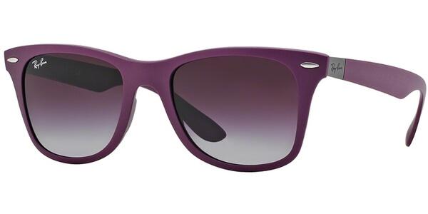 Sluneční brýle Ray-Ban® model 4195, barva obruby fialová mat, čočka šedá gradál, kód barevné varianty 60874Q.