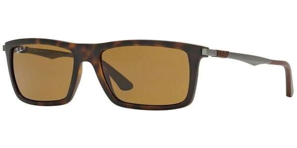 Sluneční brýle Ray-Ban® model 4214, barva obruby hnědá mat stříbrná, čočka hnědá polarizovaná, kód barevné varianty 609283.