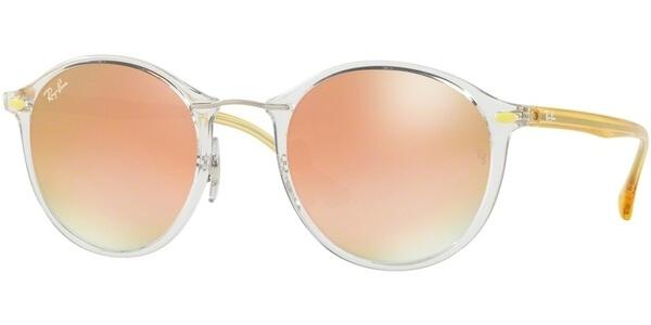 Sluneční brýle Ray-Ban® model 4242, barva obruby čirá lesk žlutá, čočka růžová zrcadlo gradál, kód barevné varianty 6288B9.