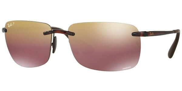 Sluneční brýle Ray-Ban® model 4255, barva obruby hnědá lesk, čočka červená zrcadlo polarizovaná, kód barevné varianty 6046B.