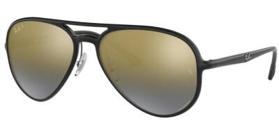 Sluneční brýle Ray-Ban® model 4320CH, barva obruby černá lesk, čočka zlatá zrcadlo gradál polarizovaná, kód barevné varianty 601J0.