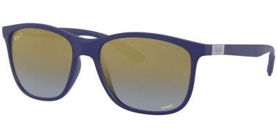 Sluneční brýle Ray-Ban® model 4330CH, barva obruby modrá mat, čočka zlatá zrcadlo gradál polarizovaná, kód barevné varianty 6015J0.