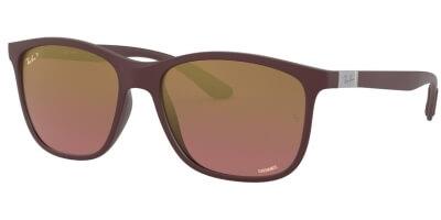 Sluneční brýle Ray-Ban® model 4330CH, barva obruby fialová mat, čočka zlatá zrcadlo gradál polarizovaná, kód barevné varianty 64456B.