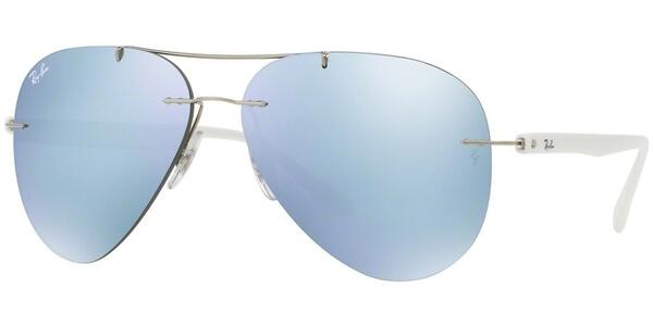 Sluneční brýle Ray-Ban® model 8058, barva obruby stříbrná lesk bílá, čočka šedá zrcadlo, kód barevné varianty 00330.