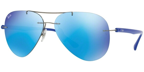 Sluneční brýle Ray-Ban® model 8058, barva obruby šedá mat modrá, čočka modrá zrcadlo, kód barevné varianty 00455.