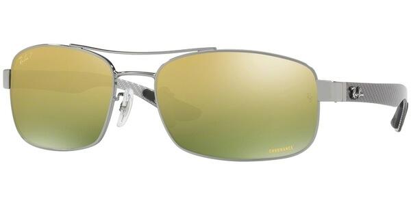 Sluneční brýle Ray-Ban® model 8318CH, barva obruby stříbrná lesk šedá, čočka zelená polarizovaná, kód barevné varianty 0046O.