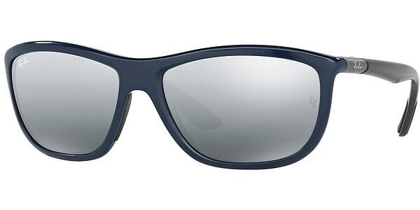 Sluneční brýle Ray-Ban® model 8351, barva obruby modrá lesk šedá, čočka stříbrná zrcadlo gradál polarizovaná, kód barevné varianty 622288.