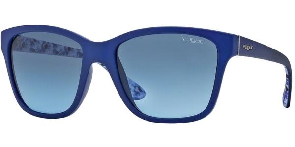 Sluneční brýle Vogue model 2896S, barva obruby modrá mat bílá, čočka modrá gradál, kód barevné varianty 22258F.
