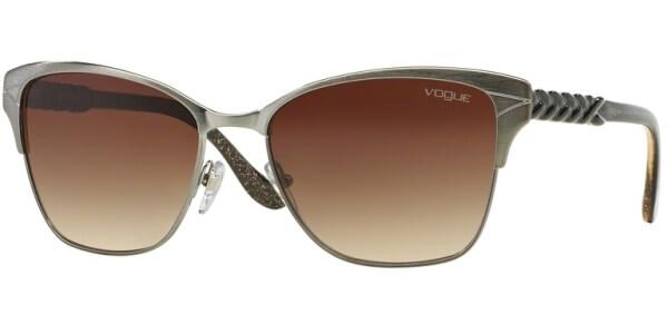 Sluneční brýle Vogue model 3949S, barva obruby stříbrná mat hnědá, čočka hnědá gradál, kód barevné varianty 54813.