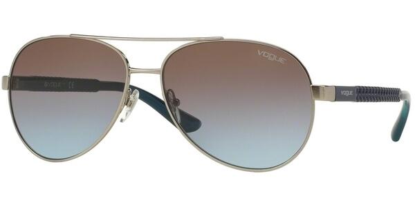 Sluneční brýle Vogue model 3997S, barva obruby stříbrná lesk modrá, čočka hnědá gradál, kód barevné varianty 32348.