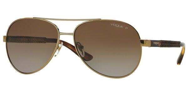 Sluneční brýle Vogue model 3997S, barva obruby zlatá lesk hnědá, čočka hnědá gradál polarizovaná, kód barevné varianty 848T5.