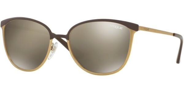 Sluneční brýle Vogue model 4002S, barva obruby hnědá mat zlatá, čočka zlatá zrcadlo, kód barevné varianty 50215A.