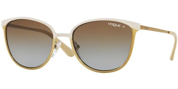 Sluneční brýle Vogue model 4002S, barva obruby béžová mat zlatá, čočka hnědá zrcadlo gradál polarizovaná, kód barevné varianty 996ST5.