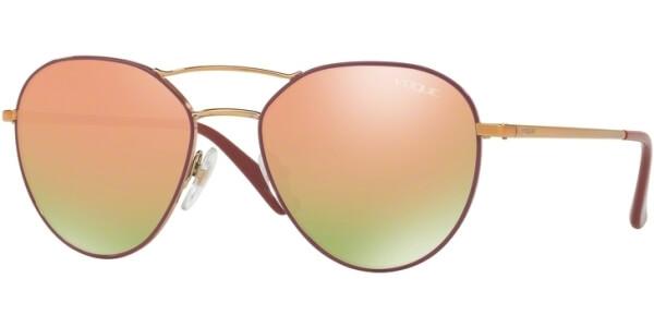 Sluneční brýle Vogue model 4060S, barva obruby fialová lesk zlatá, čočka růžová zrcadlo, kód barevné varianty 50854Z.