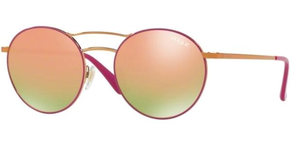 Sluneční brýle Vogue model 4061S, barva obruby růžová lesk zlatá, čočka růžová zrcadlo, kód barevné varianty 50534Z.