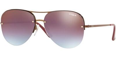 Sluneční brýle Vogue model 4080S, barva obruby fialová lesk bronzová, čočka červená zrcadlo gradál, kód barevné varianty 5074H7.