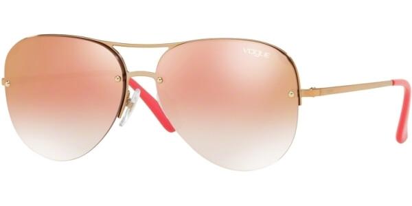 Sluneční brýle Vogue model 4080S, barva obruby růžová lesk zlatá, čočka růžová zrcadlo gradál, kód barevné varianty 50756F.
