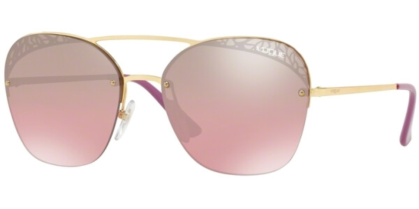 Sluneční brýle Vogue model 4104S, barva obruby zlatá lesk růžová, čočka fialová zrcadlo gradál, kód barevné varianty 2807A.