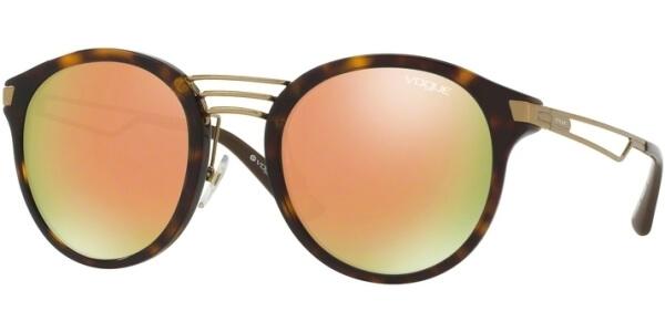 Sluneční brýle Vogue model 5132S, barva obruby hnědá lesk zlatá, čočka růžová zrcadlo, kód barevné varianty W6565R.